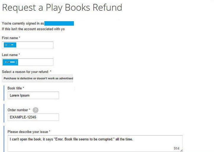 Google Play Refund for Books